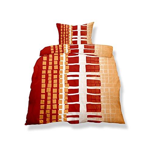 CelinaTex Aqua-Textil 0500120 Living 2-TLG. Bettwäsche 4-Jahreszeiten 135 x 200 cm Mikrofaser Bettbezug 2 teilig Nizza weiß orange rot
