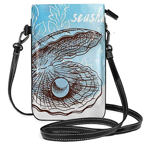 Women Small Cell Phone Purse Crossbody,Pearl In Clam Seashell And Seaweed In Watercolor Style Painted Print Tropical Image