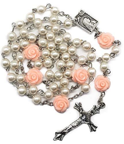 Nazareth Store Collar de Rosario Rosa Rosa Perla Blanca Cuentas de 6 mm Medalla de Lourdes Regalos religiosos católicos - Bolsa de Regalo de Terciopelo