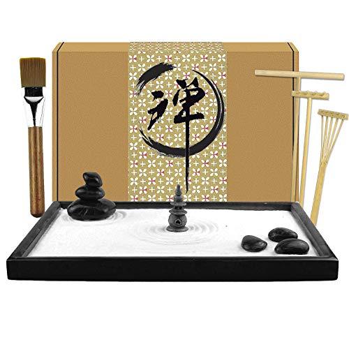 Artcome Jardín japonés de arena Zen para escritorio con rastrillo, soporte, rocas y mini artículos de mobiliario, accesorios de mesa de oficina, mini kit de jardín de arena Zen - Regalos de meditación