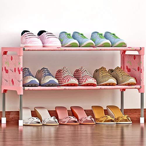FEIFEI Organizador de Zapatero De Dos Capas, Puede Contener 9 Pares De Zapatos, Utilizado En Pasillo, Armario y Pasillo, Tamaño 58x26x32 Cm, Rosa