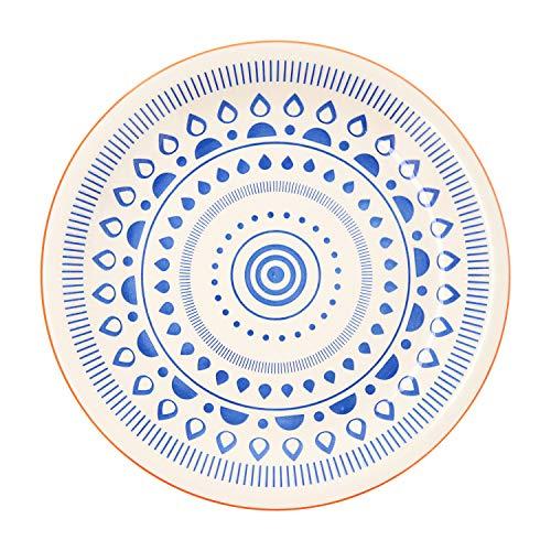 Quid Tribal Vita Vajilla de 18 Piezas, Cerámica, Azul y Blanca, 32x30x30 cm