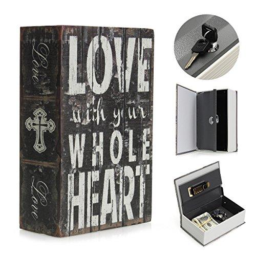 SAFETYON vintage Buchtresor mit zahlenschloss, versteckter Buch Geldkassette im wörterbuch feuerfest, Buchsafes getarnt als Roman 18 X 11.7 X 5.5cm Book Safe Storage LOVE
