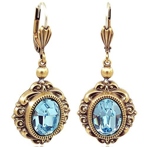 Jugendstil Ohrringe mit Kristalle von Swarovski Gold Blau NOBEL SCHMUCK