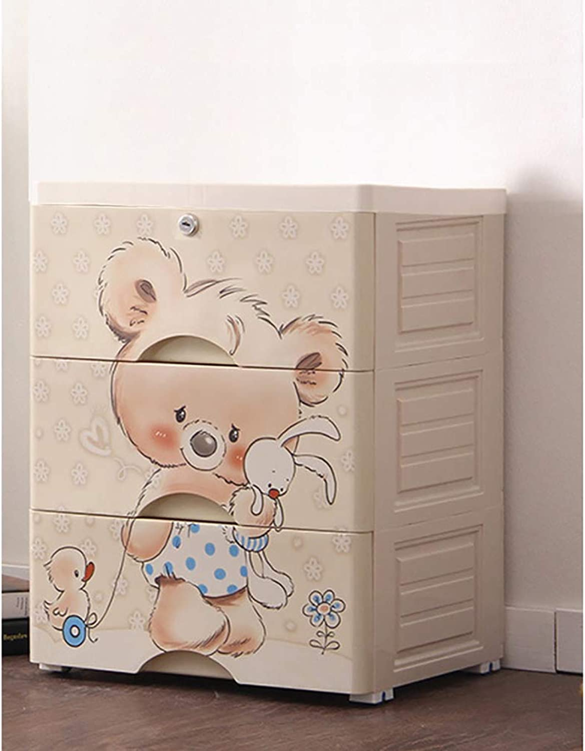 Plastic Cartoon Wardrobe Sealed Khaki Storage Box Storage Pouch Toy Accessories Large Capacity Clothes Key Such as Diapers with casters Storage case Convenience Goods 3 Stages