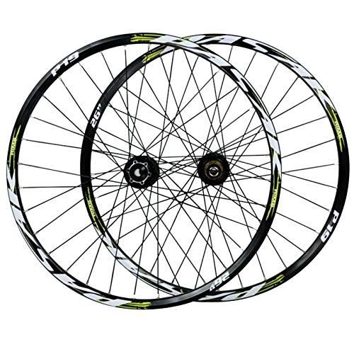 ZNND Cycling Wheels,Double Wall 32 Holes Quick Release Front 2 Rear 4 Bearings Disc Brakes 7-11 Speed Flywheel (Color : Green, Size : 26in)