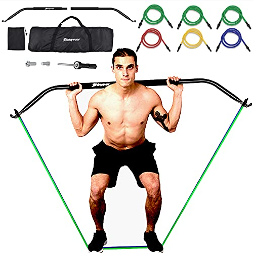 SHINYEVER Bow Portable Home Gym Resistance Bands Fitness Equipment System with 6 Resistance Bands,Weightlifting Training Kit, Full Body Workouts, Portable Workout Equipment for Home, Travel, Outdoor
