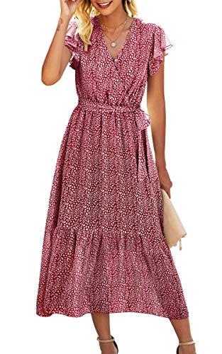 Spec4Y Maxikleid Damen Blumen Lang Kleider Kurzarm V-Ausschnitt Wickelkleid Rüschen Sommerkleider mit Gürtel 2121 Rot Small