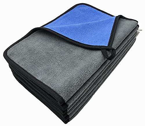VAIYNWOM 6er Set Microfasertuch Autopflege Poliertuch, Sehr Weich Mikrofaser Handtuch 550GSM Microfasertuch Lackschonend, Fusselfreie Mikrofasertücher zum Reinigung Auto Motorrad, 30x40cm(±1CM) Blau