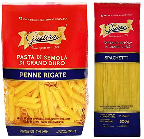 Gustora Pasta Penne Rigate PP and Pasta Spaghetti PP, 1000 Grams (Combo of 2)