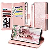 Samsung Note 10 Case,Casewind Samsung Galaxy Note 10 Wallet Case with Kickstand [9 Card Slot] [2 Cash Pocket] [Magnetic Closure] Shiny Leather Note 10 Flip Case for Girls Galaxy Note 10 Case Rose Gold