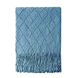Bourina Knitted Throw Blanket Soft Sofa Throw Couch Blanket, 50'x60', Blue