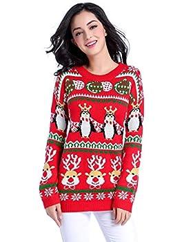 v28 Ugly Christmas Sweater Women Girl Vintage Knit Deer Xmas Pullover Jumper Deerpenguin Red XXX-Large