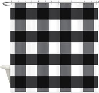 Crystal Emotion Black Buffalo Check Plaid Waterproof Bathroom Fabric Shower Curtain Bath Curtain Extra Long 72x72inch