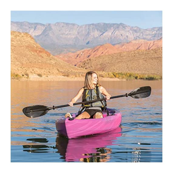 Lifetime Lotus Sit-On-Top Kayak with Paddle 2 Kayak Paddle included. Hull design provides ultra stability and great tracking Multiple footrest positions for different size Paddlers. Includes hard adjustable backrest Scupper holes drain Cockpit area. Molded Paddle cradle. Easy carry handle