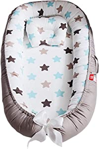 YUELAI Baby Nest 100  Organic Cotton Baby Bassinet Portable Travel Crib Bedding Breathable and Hypoallergenic Toddler Newborn Co-Sleeping Lounger Bed for 0-12 Months