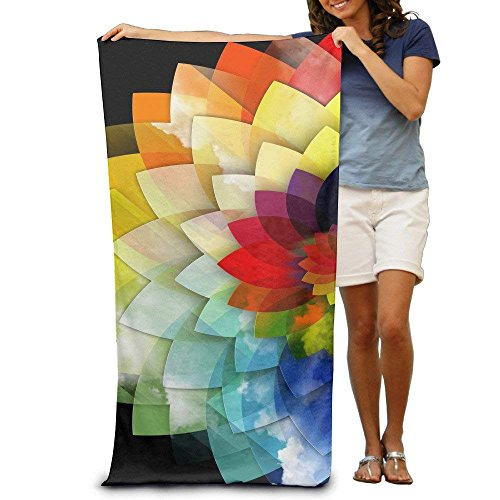 LINGVYTE Rainbow Geometric Flower 100% Polyester Beach Towel Chair (31' X 51') Thick Soft Quick Dry Lightweight Towels Blanket