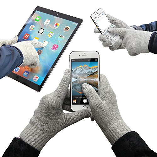 Urcover® Touch Screen Handschuhe für alle Smartphones & Tablets [Smartphone Handschuhe] Bildschirm Gloves Display Eingabe Handschuhe Grau