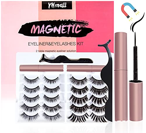 10 Paia Ciglia Finte Magnetiche 3D Magnetico Ciglia Riutilizzabili, Eyeliner Magnetico Kit Impermeabile Ciglia Finte Naturali Naturale Ciglia magnetiche