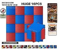 エースパンチ 新しい 16ピースセット青と赤 500 x 500 x 50 mm ピラミッド 東京防音 ポリウレタン 吸音材 アコースティックフォーム AP1034