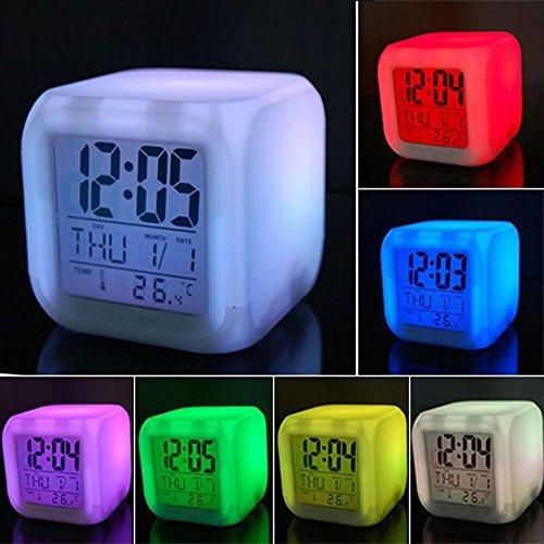 Hmjunboys Digitale wekker, met ledlicht, 7 kleuren, datum, temperatuurweergave voor kinderen, volwassenen, peuters
