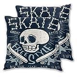 TISAGUER Juego de 2 Fundas de cojín 45x45cm,Cool Skateboard Skull Design Skater Board Música Gráfico Skate Bones Carácter,Cuadrado Decorativa Funda de Almohada Sofá Sillas Cama Throw Cojín para Hogar