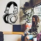 LSMYM DIY Art auriculares música Vinilo Pegatinas Decoración para el hogar Papel tapiz para niños decoración de la habitación pegatina de pared mural Blanco XL 57cm X 85cm