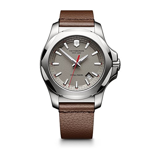 Victorinox Men's 241738.1 'I.N.O.X.' Swiss Quartz Stainless Steel Brown Leather Watch