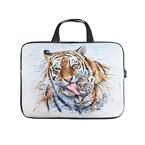 Watercolor Tiger Laptop Bag Multifuntional Super Lightweight Laptop case Sleeve Business Briefbag for Work Study for Workers Students White 17 Zoll