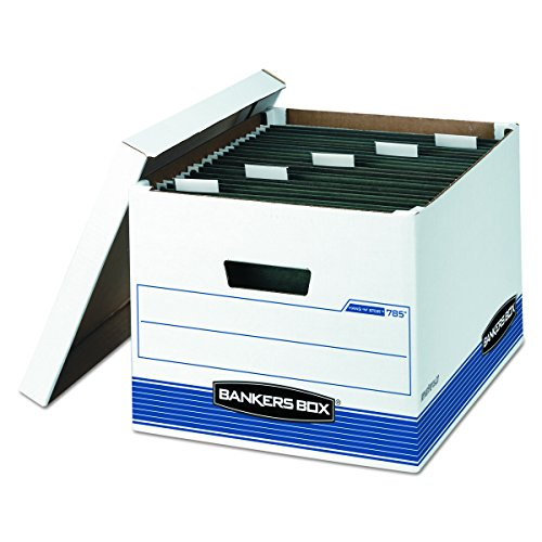 Bankers Box HANG'N'STOR Medium-Duty Storage Boxes, FastFold, Lift-Off Lid, Letter/Legal, 4 Pack (00785)