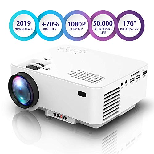 Min Home Projector 3000 Lux with 25000 Hours Lamp Life, 1-34 LED Portable Projector Support 1080P, Mini Projector Compatible with TV Stick, PS4