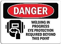 安全標識-危険標識-溶接中眼の保護が必要です。 金属スズサインUV保護および耐候性、通知警告サイン