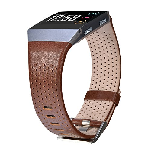 CAGOS Compatible with Fitbit Ionic Bands Men Women, Breathable Genuine Leather Straps Replacement Accessories Wristbands for Fitbit Ionic Smart Watch (Dark BrownLarge(6.29''-8.66''))