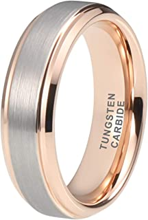 iTungsten 6mm 8mm Tungsten Rings for Men Women Wedding Bands Engagement Anniversary Jewelry Silver/Gold/Rose Gold Comfort Fit