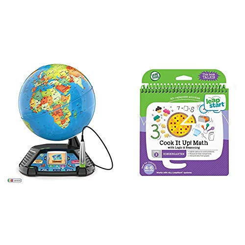 LeapFrog Magic Adventures Globe, Interactive Childrens Globe, Educational Smart Globe for Kids with 2.7 Inch LCD Screen & LeapStart Reception Cook It Up Maths and Logic and Reasoning Activity Book