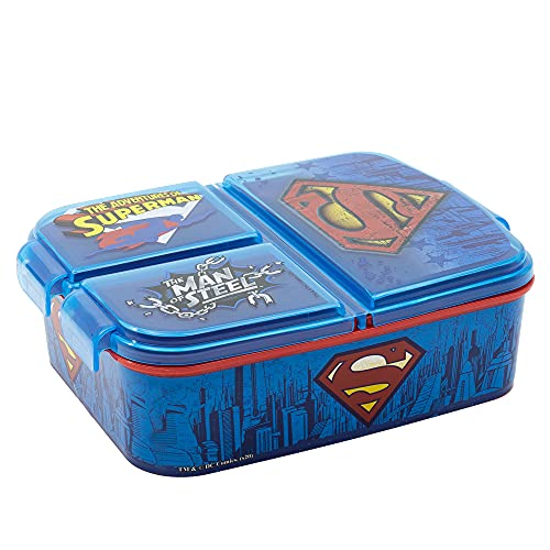 Stor Superman   Sandwichera con 3 Compartimentos para niños - lonchera Infantil - Porta merienda - Fiambrera Decorada