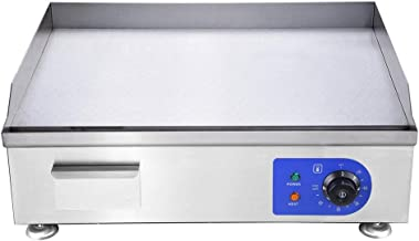24 inch Electric Griddle Countertop Grill commercial Adjustable Temp Over-Heating Protection Removable Grease Tray Flat Top Hot Plate Stainless Steel US Delivery