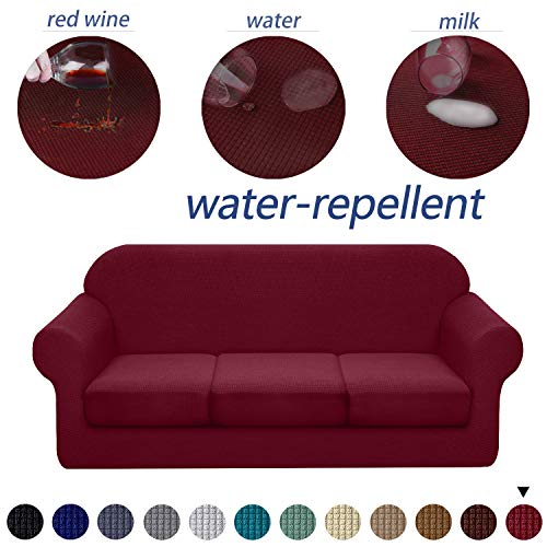 Granbest 4 Piece Premium Water-Repellent Sofa Slipcover for 3 Cushion Couch High Stretch Sofa Cover for 3 seat Sofa Super Soft Fabric Couch Cover for Dogs Pets Furniture Cover (Large, Wine Red)