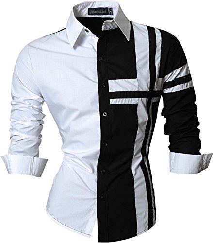 jeansian Herren Freizeit Hemden Shirt Tops Mode Langarmshirts Slim Fit Z014 Black L