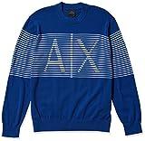 A|X Armani Exchange Men's Horizontal Stripe Logo Crewneck Knit Pullover Sweater, Sodalite/White, L by A|X Armani Exchange