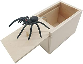 DE Spider Prank Scare Box,Wooden Surprise Box,Handmade Fun Practical Surprise Joke..