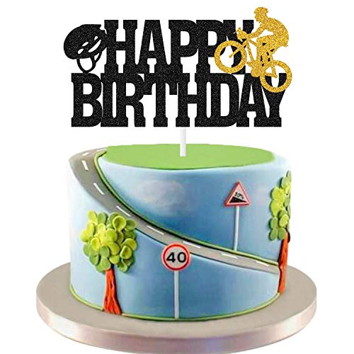 Glitter Cycling Cake Topper Bicycle Theme Happy Birthday Riding Bike Cake Decorations, Sports Themed Cycle Race Player Birthday Party Supplies Decor for Kids Boys Men Baby Shower (Black)
