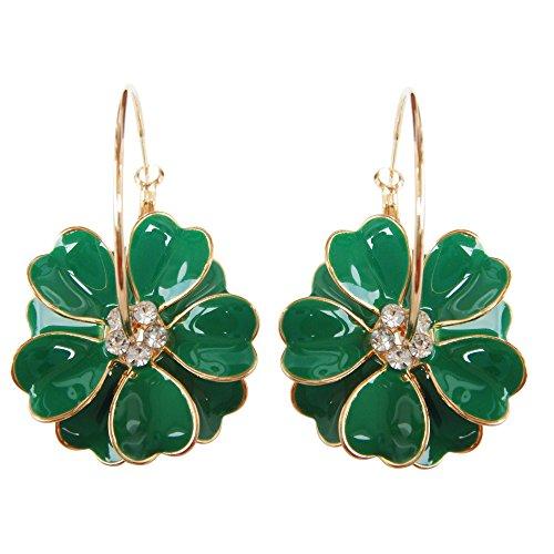 Navachi 18k Gold Plated Enamel Flower Crystal Hoop Earrings(Dia. 3cm) Deep Green
