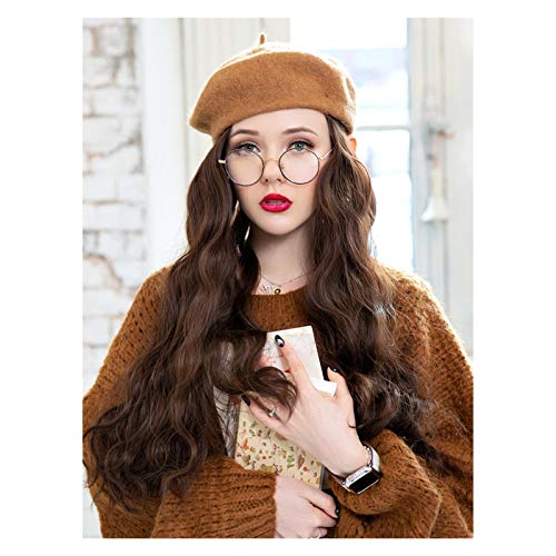 Bailey Hat Wigs Chocolate Color Wild Female Winter Long Hair Curly Hair Big Wave British Retro Full Headgear 24 Inches