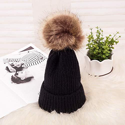 GYYCY Americana Cálida Botón Oscuro Bola De Pelo Suéter Sombrero De Punto Sombrero...