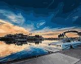 Pintura por Nmeros Kit Puesta de Sol Del Mar de California Lancha A Motor Diy Pintura al leo para Adultos, Nios, Creative Pintura sobre Lienzo Decoracin para el Hogar 40X50CmSin Marco)