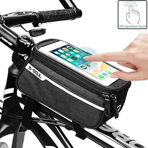 Bolsa de Bicicleta Con Pantalla Táctil Sensible, Bolsa de Marco de Bicicleta Bolso Impermeable del Soporte del teléfono del Tubo del Tubo Superior de la Bici para Smartphone hasta 6 inches (Negro)