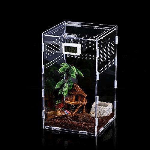 Reptil Fütterungsbox, 12x12x20cm Acryl Reptilienzuchtbox Transparent Reptil Zuchtfall für Spide, Eidechse, Skorpion, Tausendfüßler, Gehörnter Frosch, Käfer