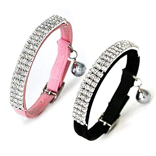 Kingkindshun 2pcs Collar para Gato de Terciopelo Suave Diseño de Bling Diamante con Campanas 11 Pulgadas para Gatos y Perros Pequeños