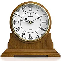 Mantel Clock, Silent Decorative Wood Mantle Clock Battery Operated, Wooden Design for Living Room, Fireplace, Office, Kitchen, Desk, Shelf & Home Décor Gift - 9 x 8.5 Inch
